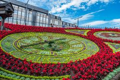 Clock made of flowers at Princes Streets Gardens, Edinburgh, Scotland. UK. Clock made of flowers at Princes Streets Gardens in Edinburgh, Scotland. UK on a stock image