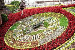 Clock made of flowers at Princes Streets Gardens, Edinburgh Stock Photos