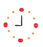 Clock made of foods Royalty Free Stock Image
