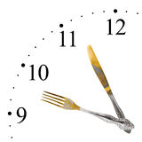 Clock made of fork and knife Stock Images