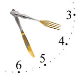 Clock made of fork and knife Royalty Free Stock Images