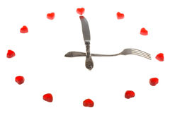Clock made from fruit jellies and dishware Royalty Free Stock Photos