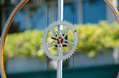 Clock  made of gear and bike wheel. Pike Place crafts market Royalty Free Stock Images