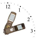 Clock made of mobile phones Stock Images