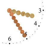 Clock made of money coins Stock Image