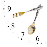 Clock made of spoon and fork Royalty Free Stock Image