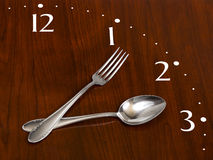 Clock made of spoon and fork Royalty Free Stock Photos