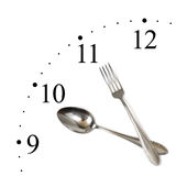 Clock made of spoon and fork Stock Image