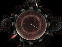 Clock Magic. Beautiful Fractal Mechanical Clock Tech Stock Photos