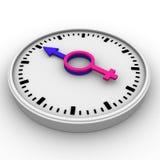 Clock-Male and female symbols Stock Photos