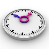 Clock-Male and female symbols Stock Photo