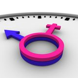 Clock-Male and female symbols Stock Photography