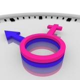 Clock-Male and female symbols Royalty Free Stock Photo
