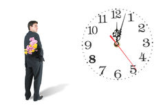 Clock and man Stock Photo