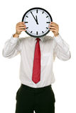 Clock manager in front of the head with stress. Royalty Free Stock Images