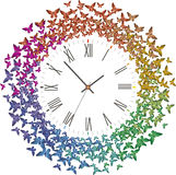 Clock with many multicolored butterflies flying away. Abstract clock with lots of origami multicolored rainbow butterflies flying around Stock Image