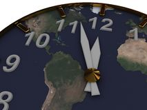 Clock with Map Royalty Free Stock Photos
