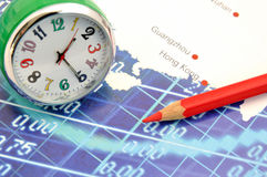 Clock on map of Southern China and Hongkong Stock Photo