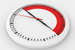 Clock with marked border red time Royalty Free Stock Photography