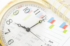 Clock and market report graph with document. Stock Images
