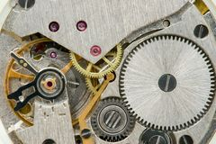 Clock Mechanics. Inside of Wrist Watch Royalty Free Stock Photo