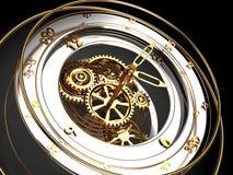 Clock mechanism. Abstract 3d illustration of clock mechanism over black background Stock Image