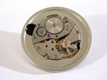Clock mechanism. Old hand-wear clock mechanism stock photo