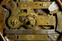 Clock mechanism. Cose up photo of an old clock's mechanism royalty free stock images