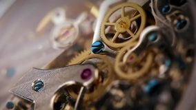 Clock mechanism close up stock video