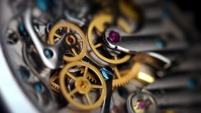 Clock mechanism close up stock footage