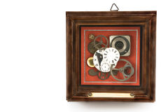 Clock mechanism in frame Stock Image