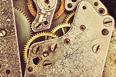 Clock Mechanism with Gears Macro.Toned image. Stock Photography