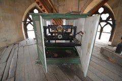 Clock mechanism in the Gothic-style Roman Catholic Church of Saint Michael in Cluj-Napoca. Stock Photo