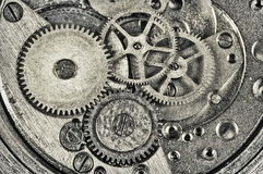 Clock mechanism. Interior of watch mechanism. Retro effect Royalty Free Stock Photography