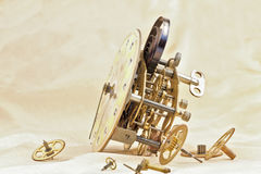 Clock mechanism. Mechanism of old desktop clock and gears royalty free stock photo
