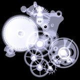 Clock mechanism. X-ray render Stock Image