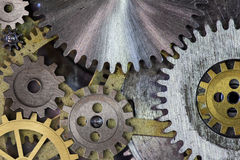 Clock mechism gears and cogs. Macro Stock Photos
