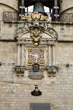Clock on the medieval tower in Bordeaux Stock Photography