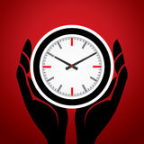 Clock in men hand Stock Images