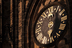 Clock of the Metropolitan Cathedral of Saints Vitus, Wenceslaus and Adalbert in Prague Castle royalty free stock photo