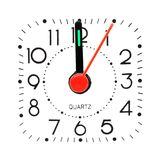 Clock at midnight. Isolated on white background Stock Photo