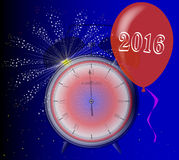 2016 Clock. A 2016 midnight clock with balloon and firework explosion Royalty Free Stock Photography