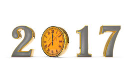 Clock, Midnight...Happy New Year 2017...Merry Christmas. 3D Illustration Royalty Free Stock Images