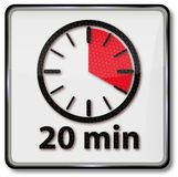 Clock with 20 minutes. And alarm stock illustration