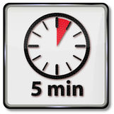 Clock with 5 minutes Stock Images