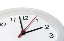Clock. Modern clock with second hand just before deadline isolated Royalty Free Stock Photography