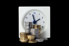Clock and money Royalty Free Stock Photo