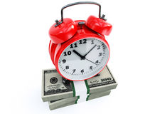 Clock and money stacks Stock Photos