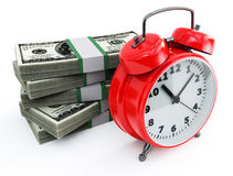 Clock and money stacks Royalty Free Stock Photo