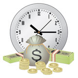 Clock and money Royalty Free Stock Images